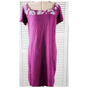 Banana Republic Pink Embroidered Square Neck Dress